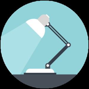 Profile of lamp spotlighting desktop
