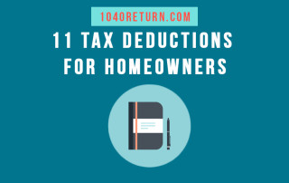 "White text overlaying a blue background and above an image of a portfolio and pen that reads, ""11 Tax Deductions For Homeowners"""
