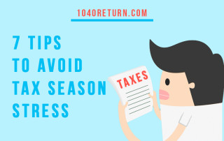 "Cartoon man looking at tax documents with text overlay that says, ""7 tips to avoid tax season stress"""