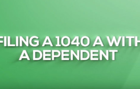 "White text on green background reads, ""Filing a 1040 A With Dependent"""
