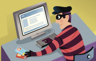 Cartoon masked criminal using computer to steal personal information
