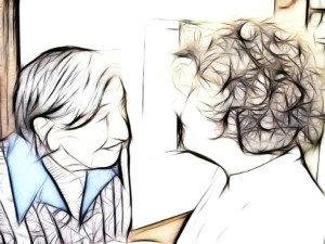 Sketch of smiling elderly woman looking into daughters eyes