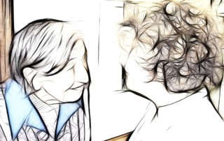 Sketch of smiling elderly woman looking into daughters eyes