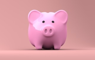 Forward facing piggy bank for annual refunds